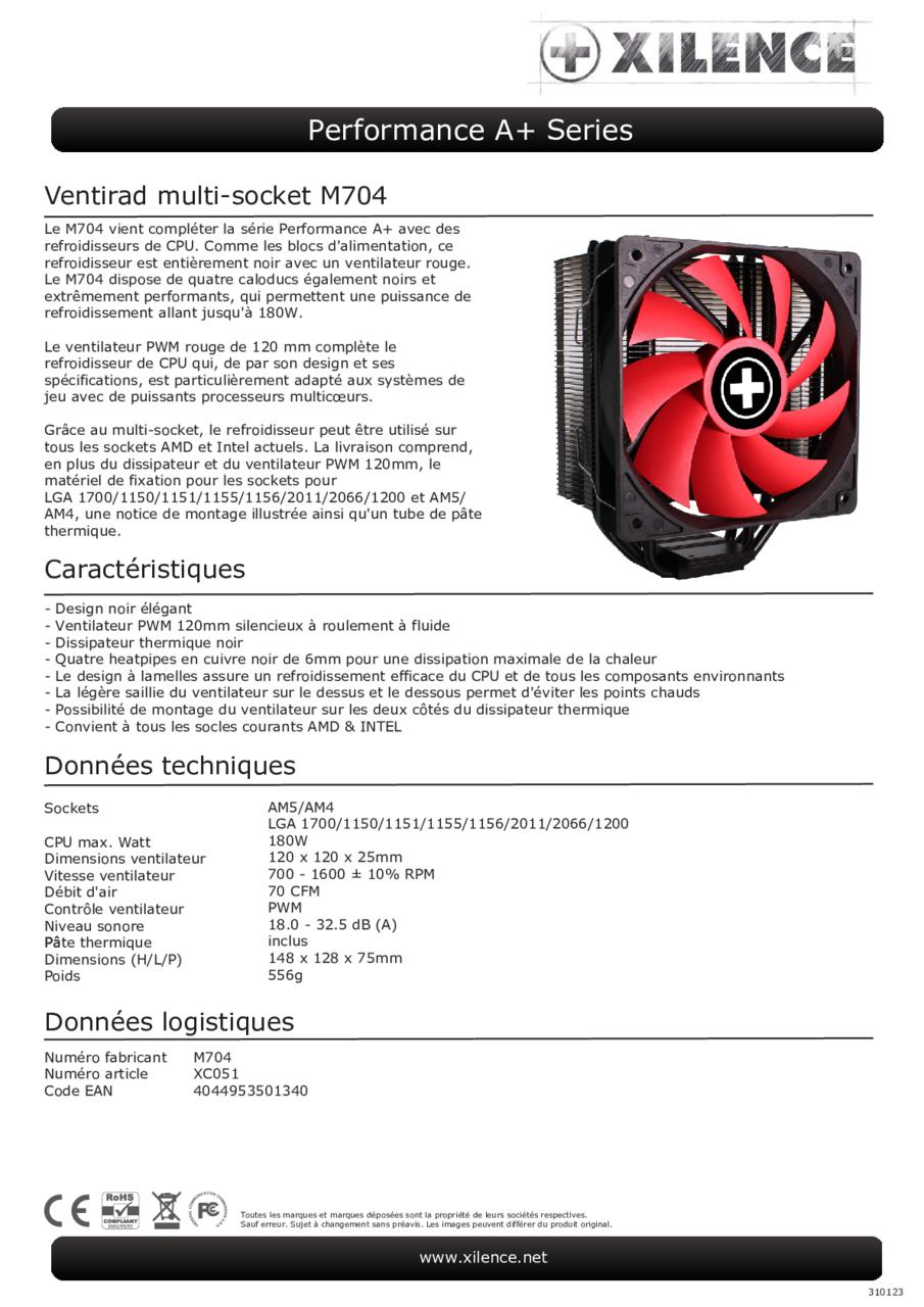 Xilence - XC051 M704 CPU Cooler AMD: FM2+/FM1/FM2/AM4/AM3+/